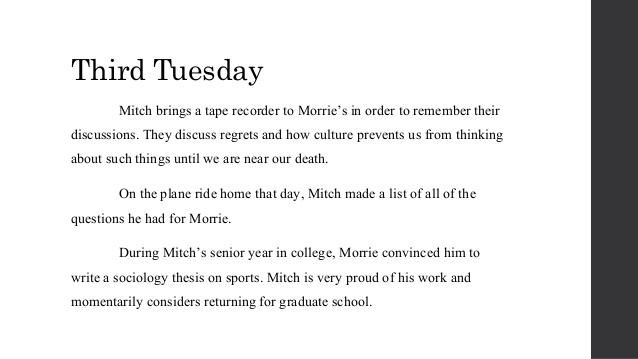 tuesdays with morrie 3 essay Tuesdays with morrie related topics extra credit tuesdays with morrie reading assignment 3: pgs 48 - 54 journal entries for reading assignment #3.