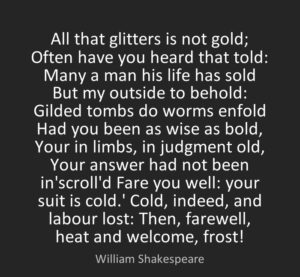 Shakespeare Quotes All that Glitters is Not Gold
