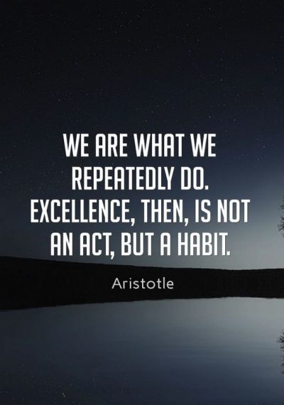 Excellence Must Be A Habit