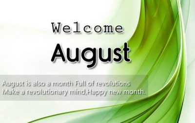 Welcome August Month 2020