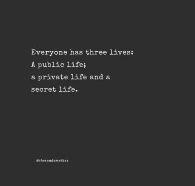 Private Life Sayings