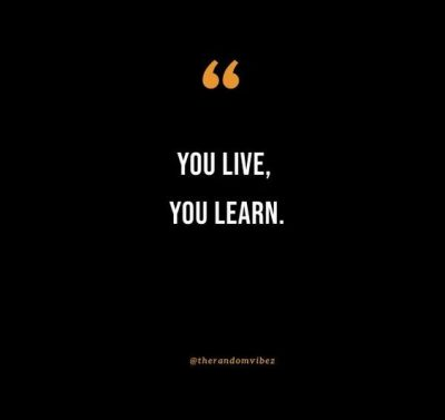 You Live And You Learn Quotes